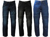 Avvento Men's Motorcycle Motorbike Jeans Biker Denim Trousers Protective Lining