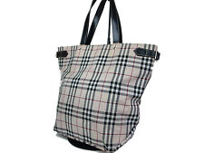Auth BURBERRY LONDON BLUE LABEL Nova Check Canvas Beige Tote Bag BT14143L