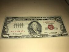 1966 $100 ONE HUNDRED DOLLAR BILL RED SEAL LEGAL TENDER UNITED STATES NOTE