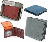 Timberland Mens Wallet Bifold Passcase Genuine Leather 2 ID Windows Billfold NEW