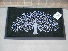 Tree Of Life White on Black - Natural Coir & Rubber Door Mat