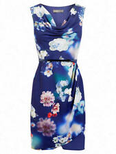 Oasis Floral Print Cowl Dress, Blue/Multi Size 12 New Without Tags RRP £49