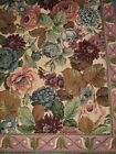 Renaissance Woven Art LARGE Rose Floral Tapestry and Runner - Preowned VGUC
