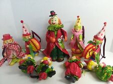 Vintage Colorful Paper Mache Circus Clown Figurine Lot of 9