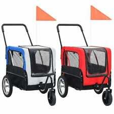vidaXl 2-in-1 Pet Bike Trailer & Jogging Stroller Flag Dog Stroller Gray/Red
