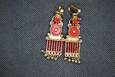 Vintage Mid Century Designer Pauline Trigere Clip Red Enamel Dangle Earrings MCM