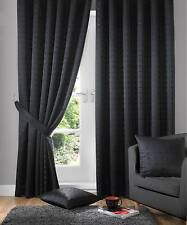 Jacquard Check Black Lined Pencil Pleat Curtains Drapes *9 Sizes* 90x72