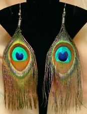 Boho Hippie Gypsy Peacock Tribal Feather Gothic Belly Dance Dancing Earrings