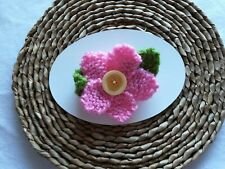 Hand Knitted Daisy Flower Corsage Brooch: Pink - Birthday Gift Novelty Home