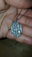 BIG Aquamarine 7.26ctw Emerald Cut And Round Sterling Silver Pendant With Chain
