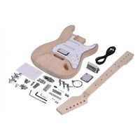 ST Style Unfinished DIY Electric Guitar Kit Basswood Body Maple Fingerboard T9J5