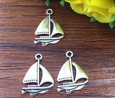 8pcs sailboat Tibetan Silver Bead charms Pendants DIY jewelry 23x18mm
