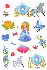 CENERENTOLA Principessa Kid Bambini TATUAGGIO TEMPORANEO BODY ART Kids Tatuaggio Adesivi