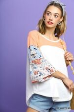 59a6963ba9e37 UMGEE Colorblock Paisley Print Layered Bell Sleeve Top USA Boutique