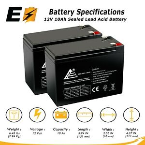 (2pk) ExpertBattery 12V 10AH SLA Battery for Razor Pocket Mod Electric Scooter