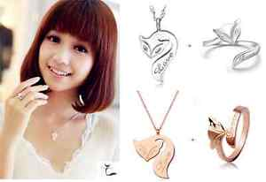 """Fashion """"Fox"""" Silver/Rose Gold Jewelry Set: Ring (Adjustable) + Necklace"""