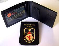 Portafoglio Portadocumenti con placca estraibile Protezione Civile in pelle