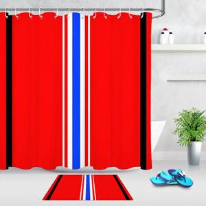"Blue White Stripes Red Background Fabric Shower Curtain Set Bathroom Decor 72"""