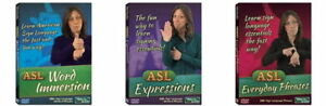 Learn American Sign Language 3 DVD Bundle ASL Word Immersion Phrases Expressions