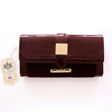 BURGUNDY PURSE WITH GENUINE PATENT LEATHER & FUR BY LYDC