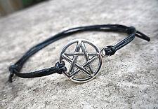 PENTAGRAM Silver PENTACLE Adjustable Black Cord Bracelet Pagan Wicca 16mm Charm
