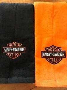 Hand Towel Harley-Davidson Motor Cycles  Logo 1 Orange & 1 Black Towels Set of 2