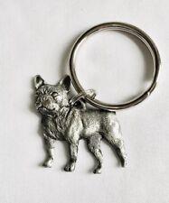 Solid Pewter French Bulldog Dog Puppy Mack Truck Silver Metal Keychain