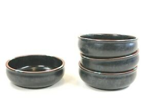 "Dansk Mesa Brown with Blue Accents - 6 1/4"" Soup Bowls Set of 4"