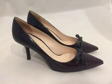 AUTHENTIC PRADA PUMPS SIZE 37.5 US 7.5 PATENT LEATHER POINTY TOE HEELS WITH BOW