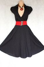 SIZE 14 50s ROCKABILLY STYLE COTTON BRODERIE ANGLAISE BLACK DRESS ~ US 10 EU 42