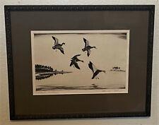 Original Churchill Ettinger Signed Sporting Art Duck Etching - Blacks at Dusk