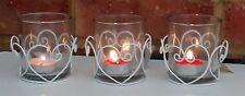 Set of 3 Sweet Heart Tea Light Holders White Metal Shabby Chic Ornament 8cm New