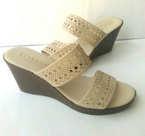 Womens Size 9.5,11 Slides Mules TAN Wedge ITALIAN SHOEMAKERS Comfort Wide Strap