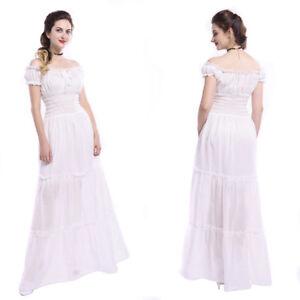 Women Medieval Renaissance White Chemise Cotton Dress Pirate Wench Costume