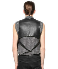 Saint Laurent YSL Hedi Slimane Small Grain Leather Waistcoat Vest Jacket - FR 44