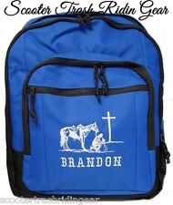 Personalized Cowboy at the Cross blue backpack school book bag NEW rodeo horse