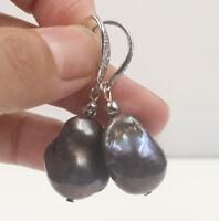Natural 16 mm Black Unusual Keshi Keishi Drip Baroque Pearl Earring