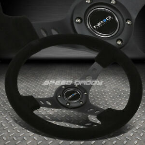 "NRG REINFORCED 350MM 3""DEEP DISH BLACK SPOKE SUEDE STEERING WHEEL W/HORN BUTTON"