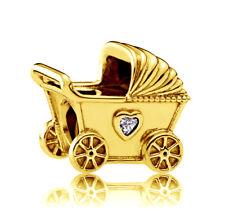 Genuine PANDORA Baby Pram Charm 14K Gold Plated 792102CZ Vermeil