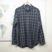 VTG Pendleton Button Down Shirt Size Large L Virgin Wool Blue Green Plaid Pocket