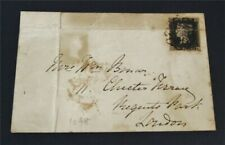 nystamps Great Britain Stamp # 1 Used $640 On Cover