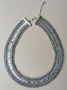 Striking Stella & Dot Statement Necklace - Silver Tone Metal Chain Links