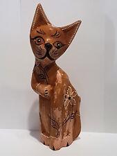 Katze aus Holz Blume vintage shabby Handarbeit Deko Skulptur Tierfigur Geschenk