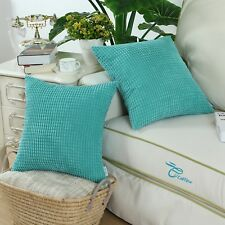 "2Pcs CaliTime Pillow Cushion Cover Corduroy Corn Striped 20"" X 20"" Turquoise"