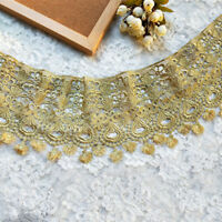 """6.7""""*2Yds  Victorian Antique Gold Embroidery Lace Trim in Metallic Gold"""
