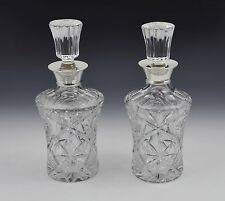 Stunning Pair Silver Mounted Cut Crystal Glass Decanters Roberts & Dore