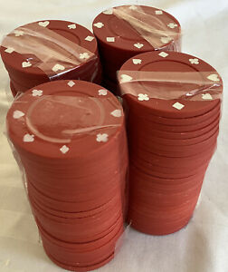 Set of 100 .RED  Poker Chips Used