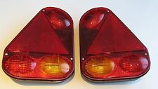 2 RADEX 2900 REAR TRAILER LIGHTS LAMPS TRIANGULAR 5 FUNCTION QUICK FIT 12V