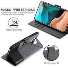 For Xiaomi POCO F2 Pro Unique Flip Canvas Leather Wallet Stand Soft Case Cover