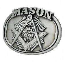 Freemason Belt Buckle / Masonic Buckle - Silver Tone Brushed Masonic Rounded